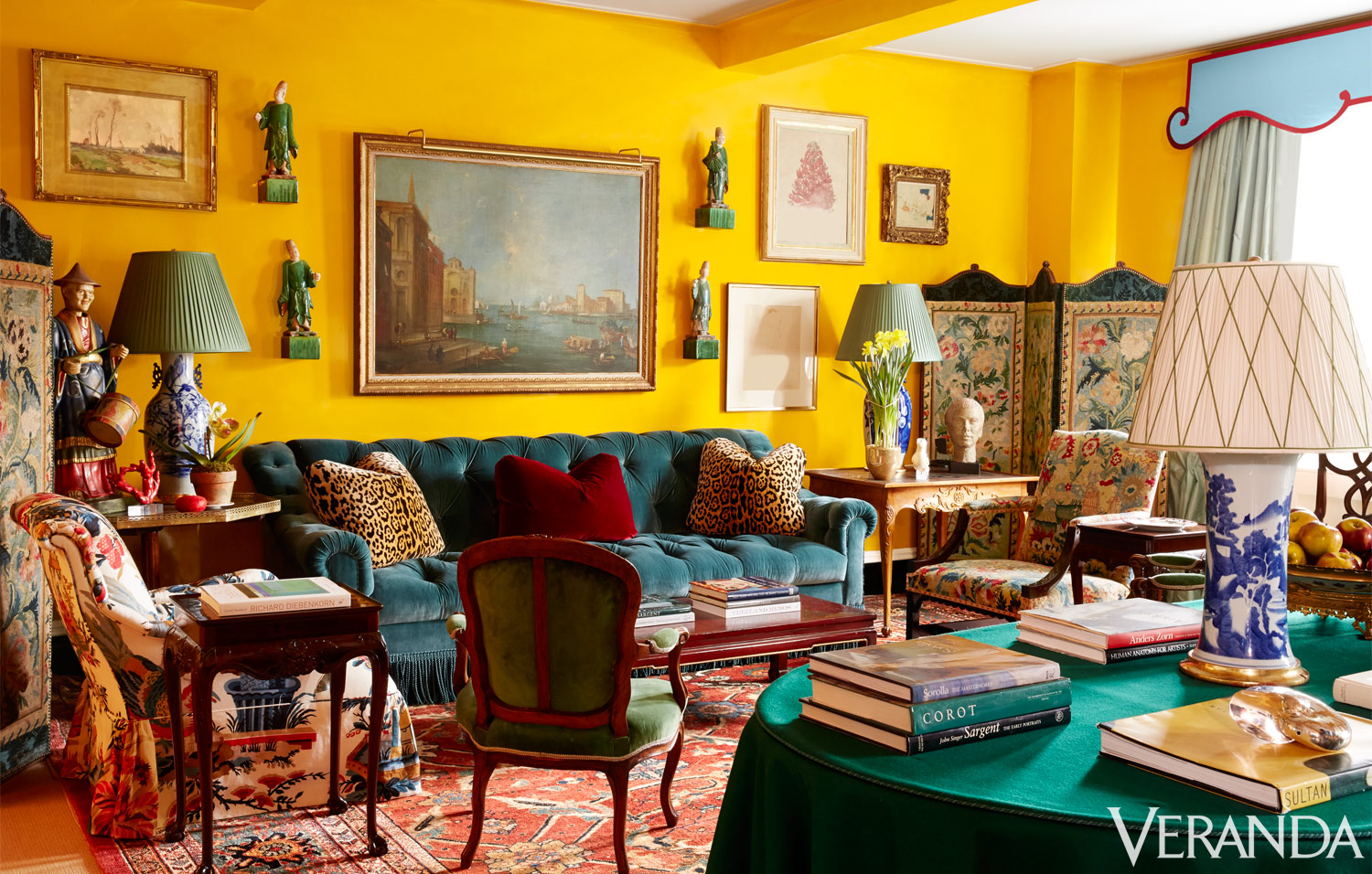 Miles redd designs a colorful manhattan apartment tour a for Home decor yellow walls