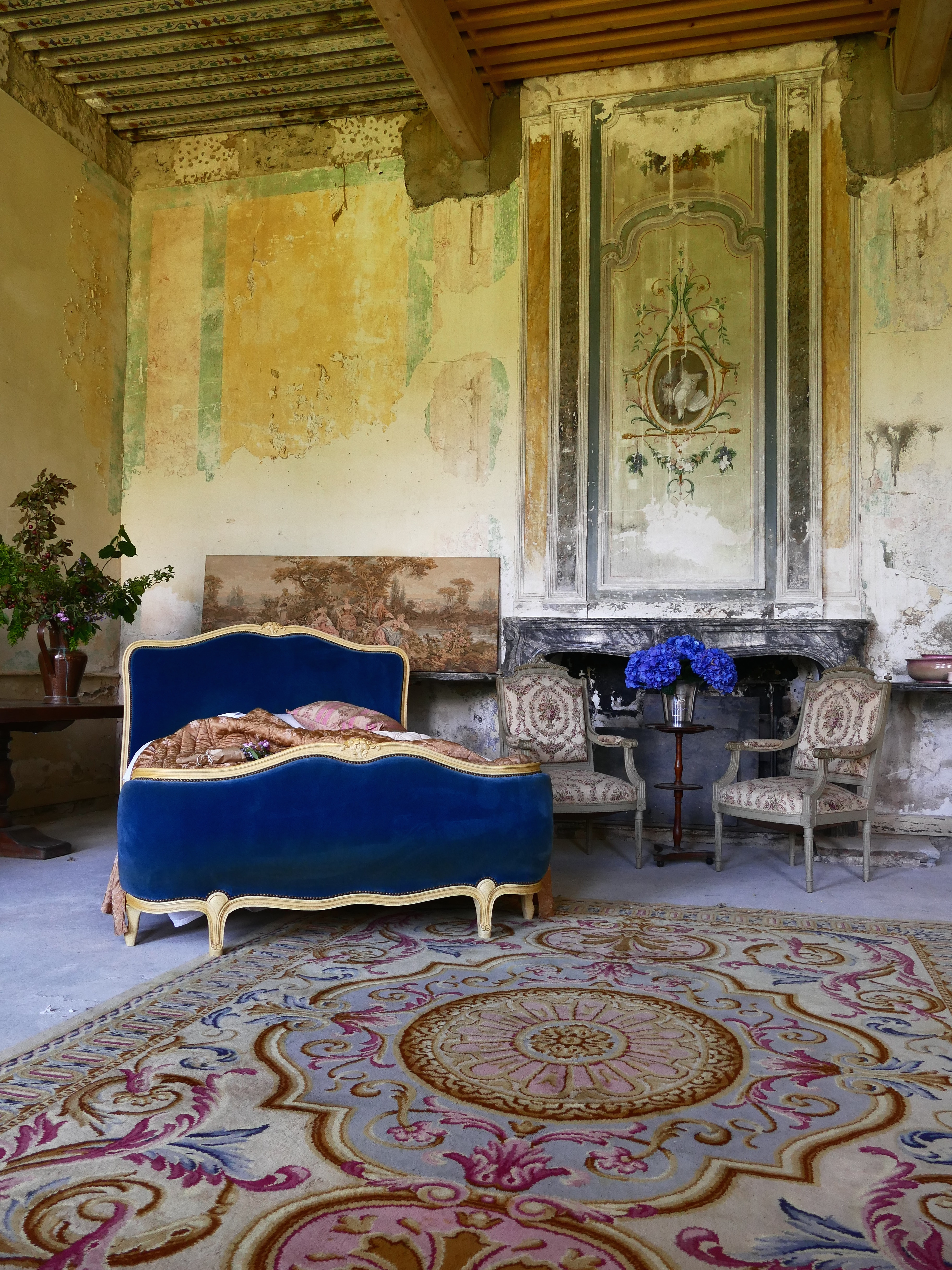 Elegant Romantic Bedrooms: French Castle Renovation By Captain's Log Blogger
