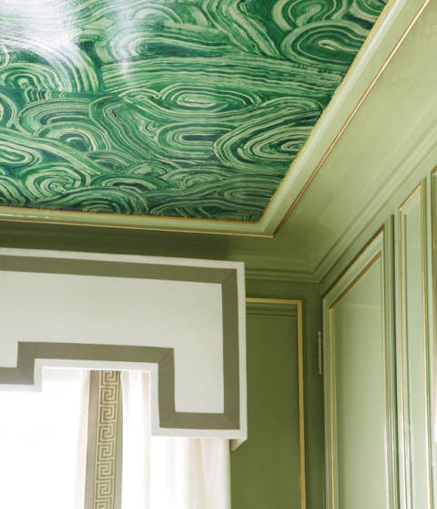 Shelley johnstone paschke green bathroom for Ceiling mural in a smoker s lounge
