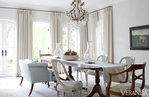 collected feel mismatched chairs give this dining room